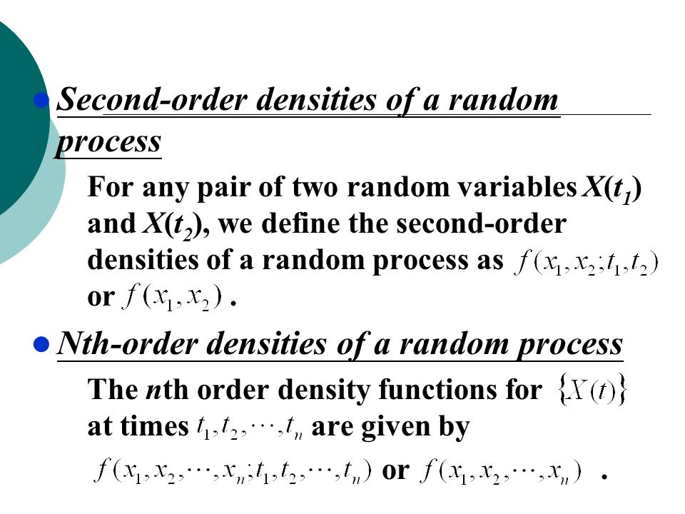 Second-order densities of a random process