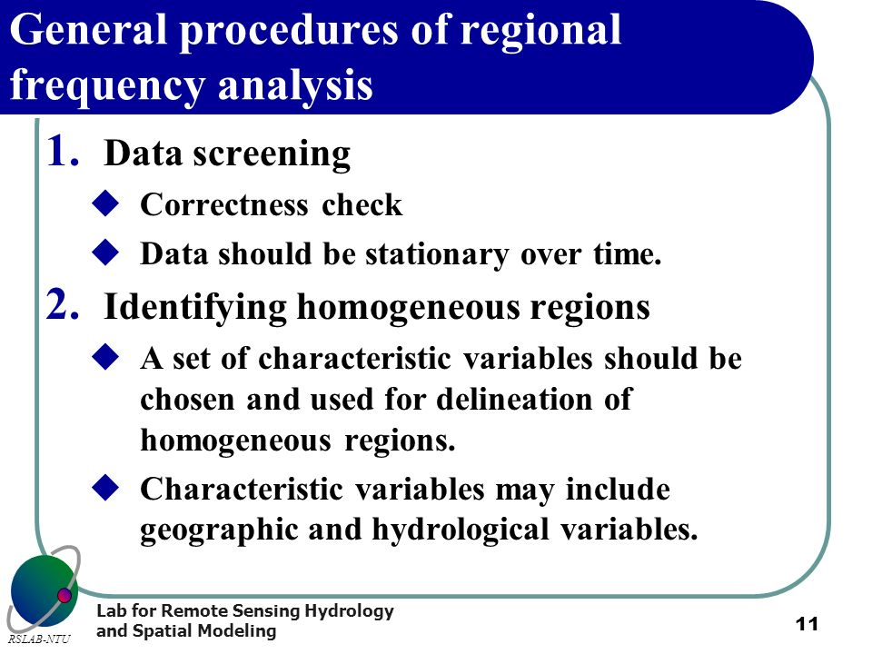 General procedures of regional frequency analysis