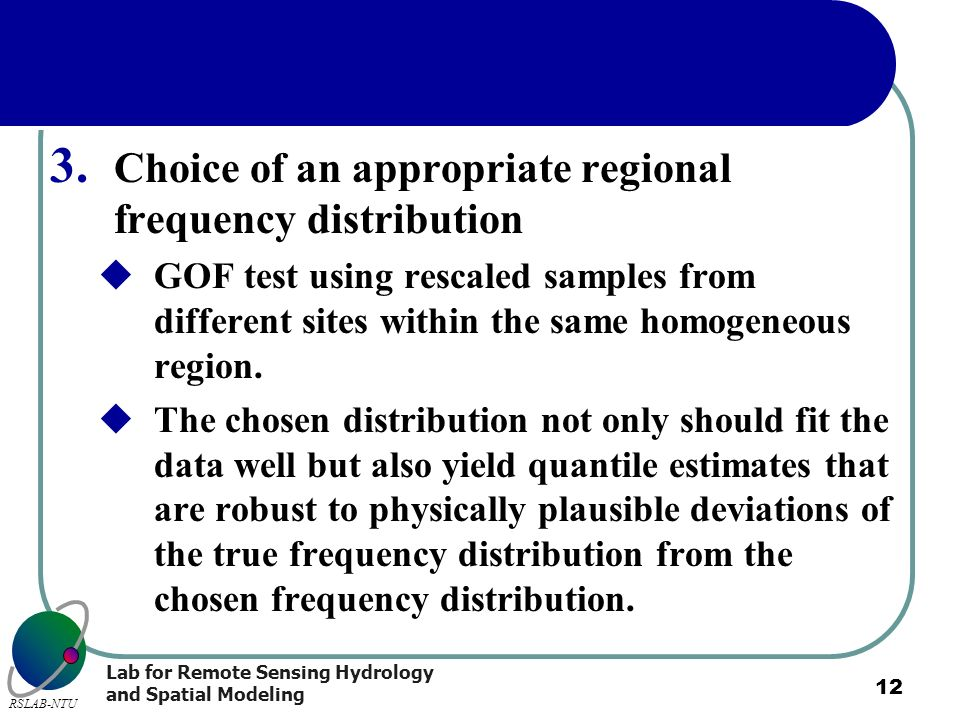 Choice of an appropriate regional frequency distribution