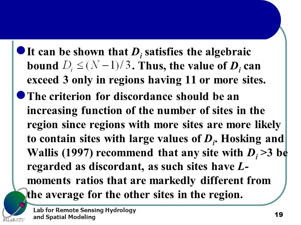 It can be shown that Di satisfies the algebraic bound