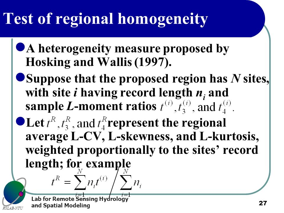 Test of regional homogeneity