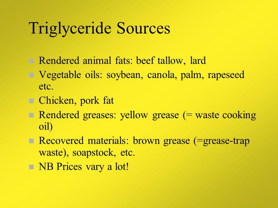 Triglyceride Sources Rendered animal fats: beef tallow, lard