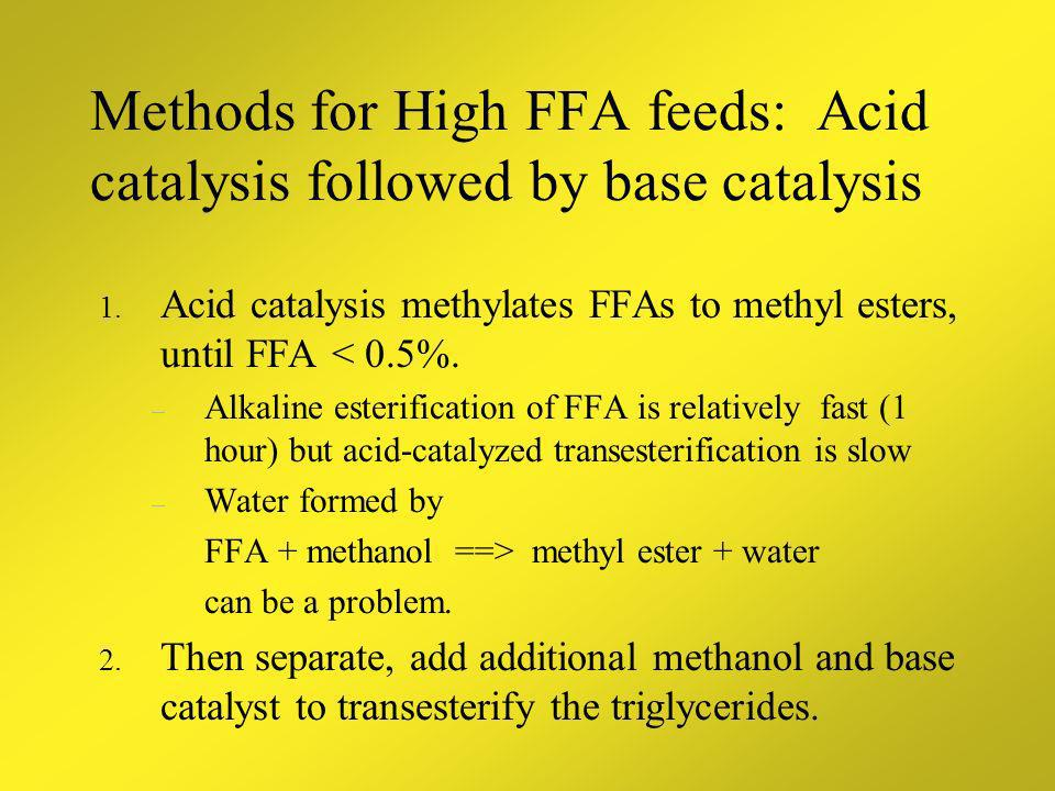Methods for High FFA feeds: Acid catalysis followed by base catalysis