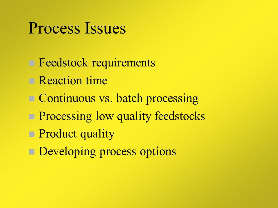 Process Issues Feedstock requirements Reaction time