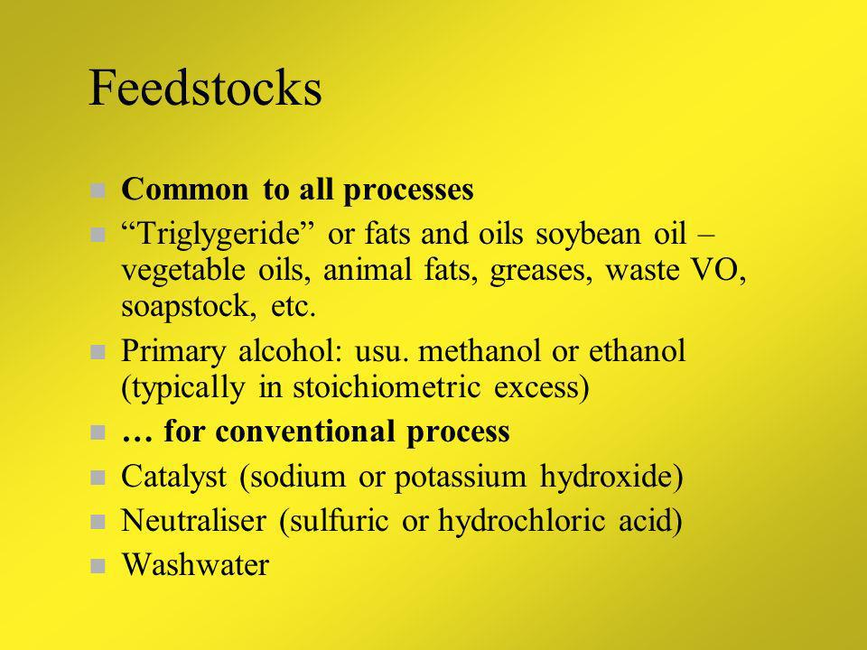 Feedstocks Common to all processes