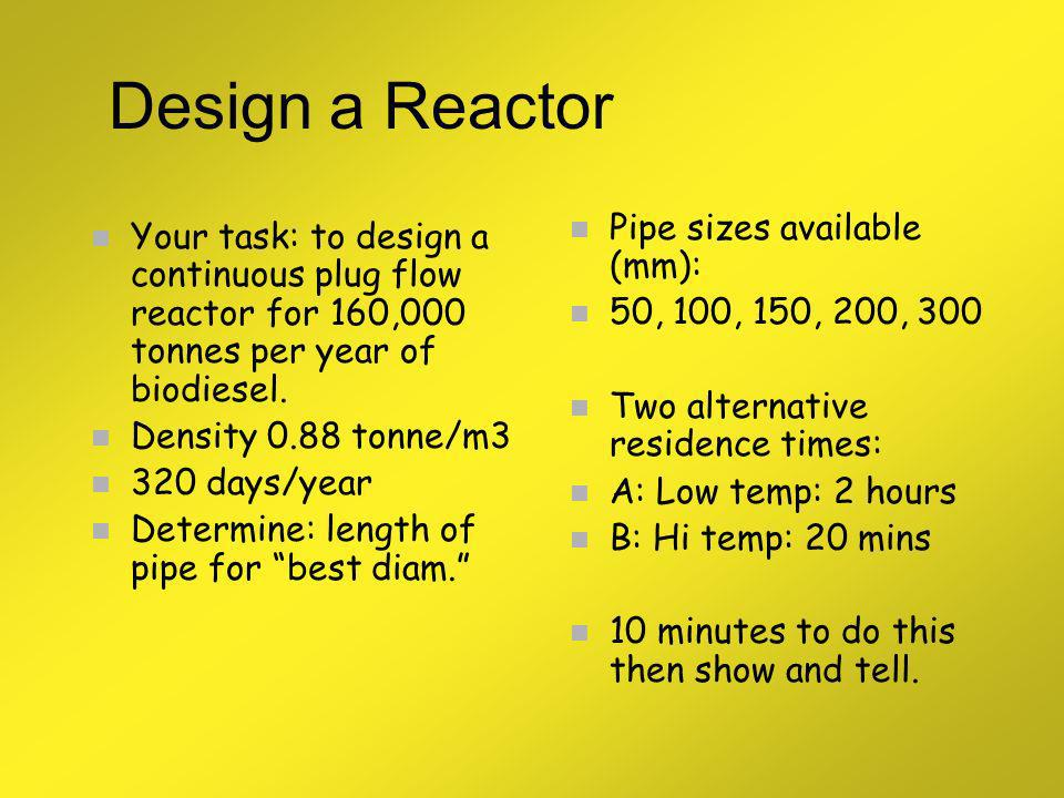 Design a Reactor Pipe sizes available (mm):