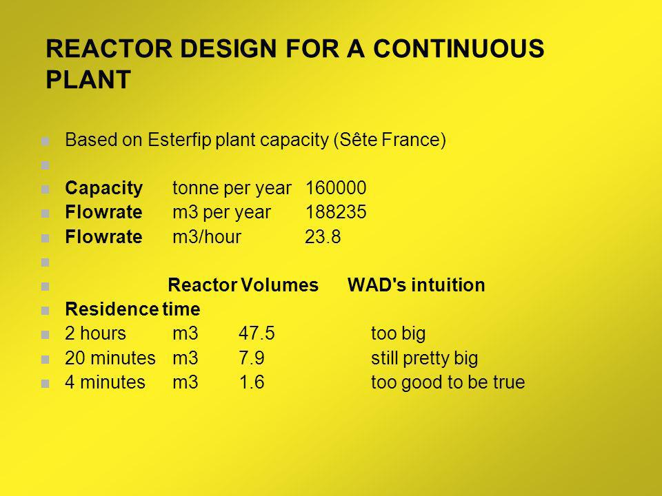 REACTOR DESIGN FOR A CONTINUOUS PLANT