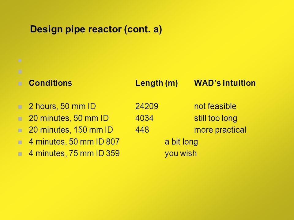 Design pipe reactor (cont. a)