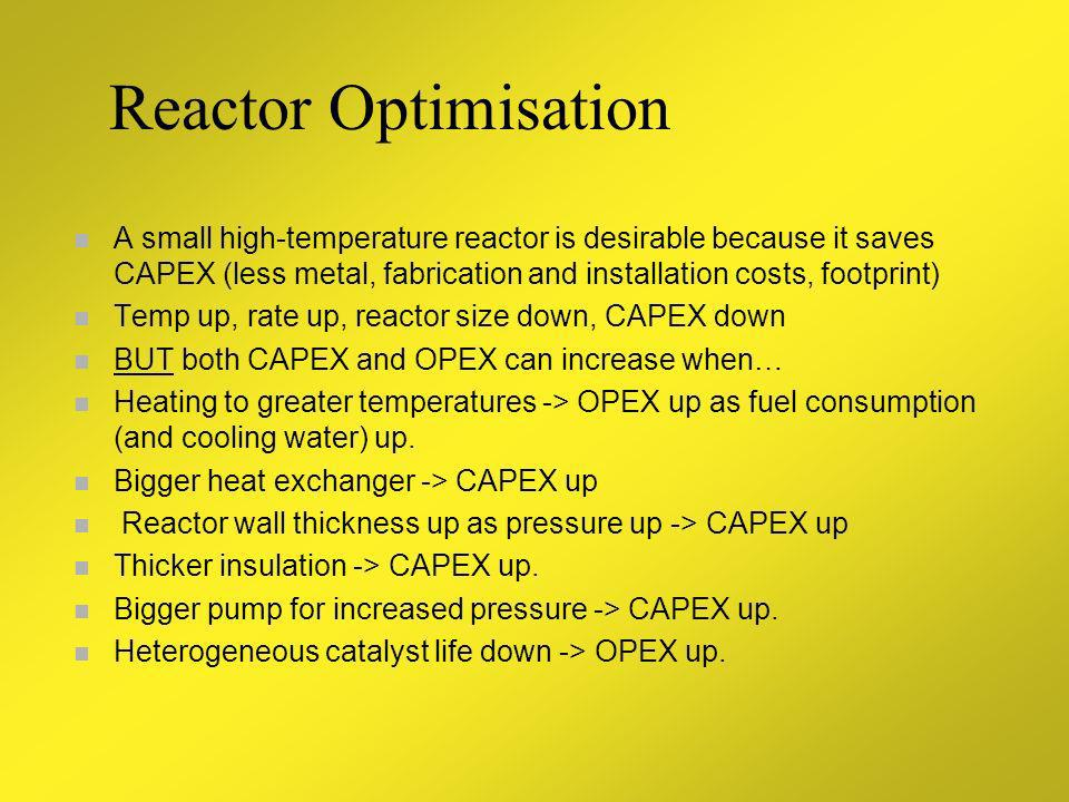 Reactor Optimisation A small high-temperature reactor is desirable because it saves CAPEX (less metal, fabrication and installation costs, footprint)