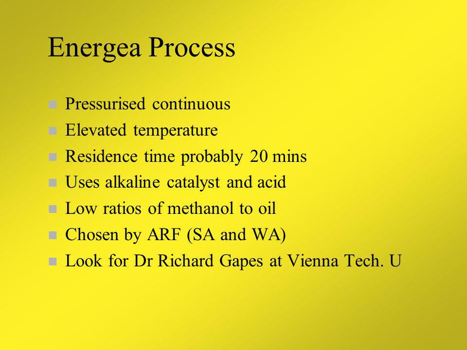 Energea Process Pressurised continuous Elevated temperature