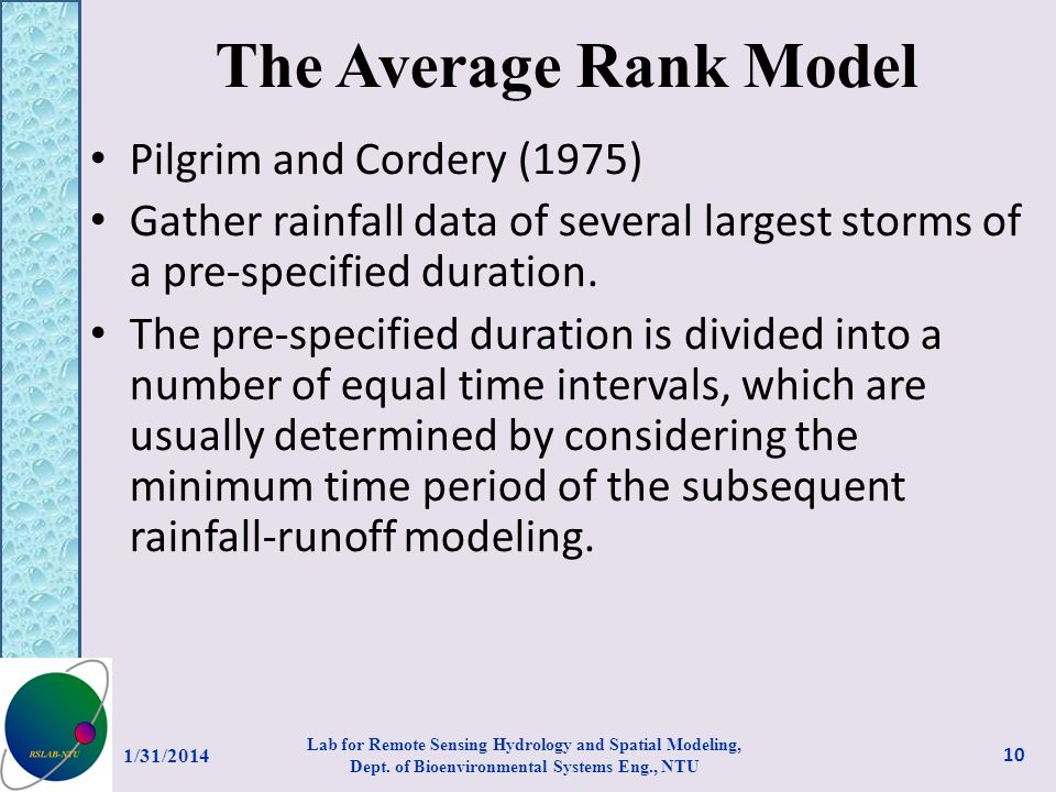 The Average Rank Model Pilgrim and Cordery (1975)