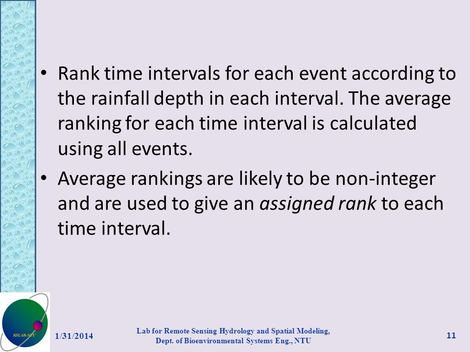 Rank time intervals for each event according to the rainfall depth in each interval. The average ranking for each time interval is calculated using all events.