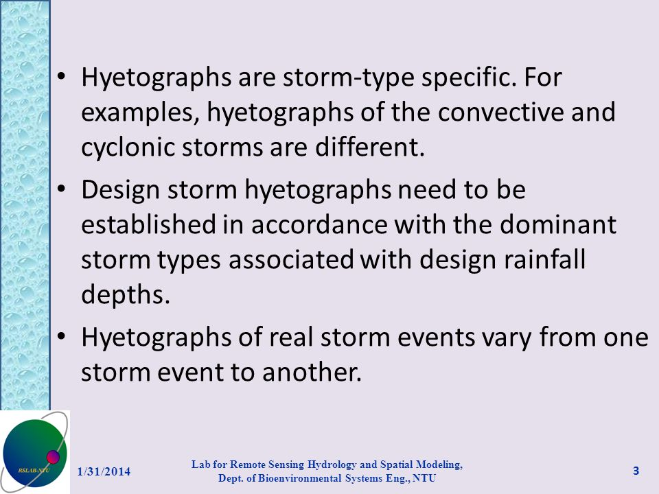Hyetographs of real storm events vary from one storm event to another.