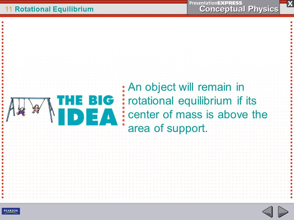 An object will remain in rotational equilibrium if its center of mass is above the area of support.