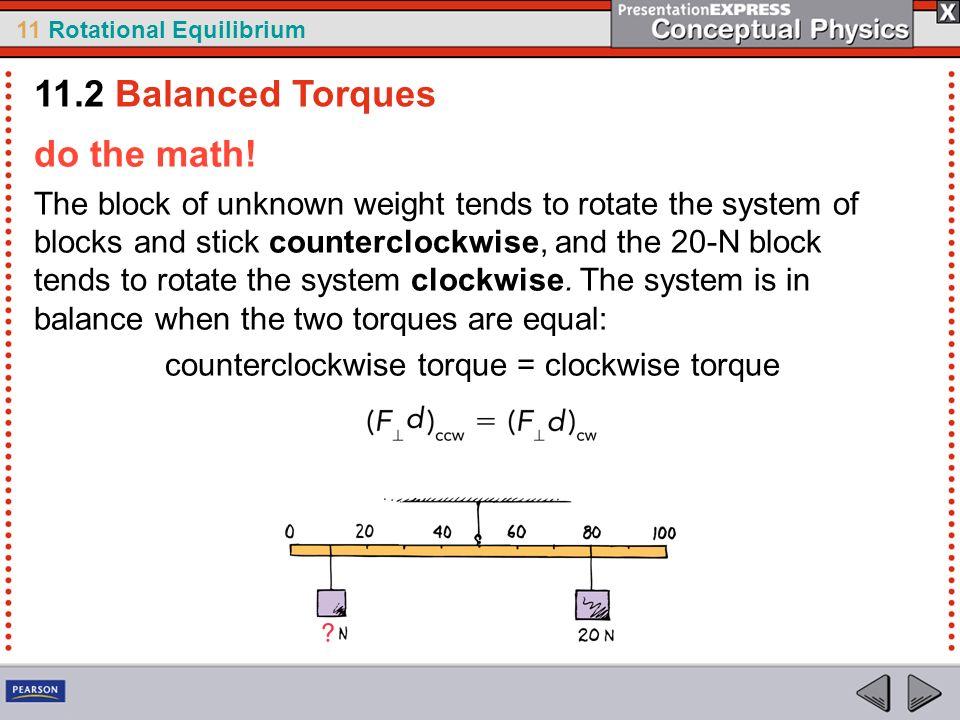 counterclockwise torque = clockwise torque