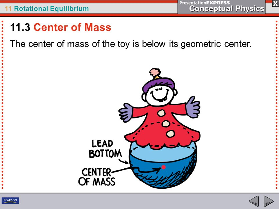 11.3 Center of Mass The center of mass of the toy is below its geometric center.