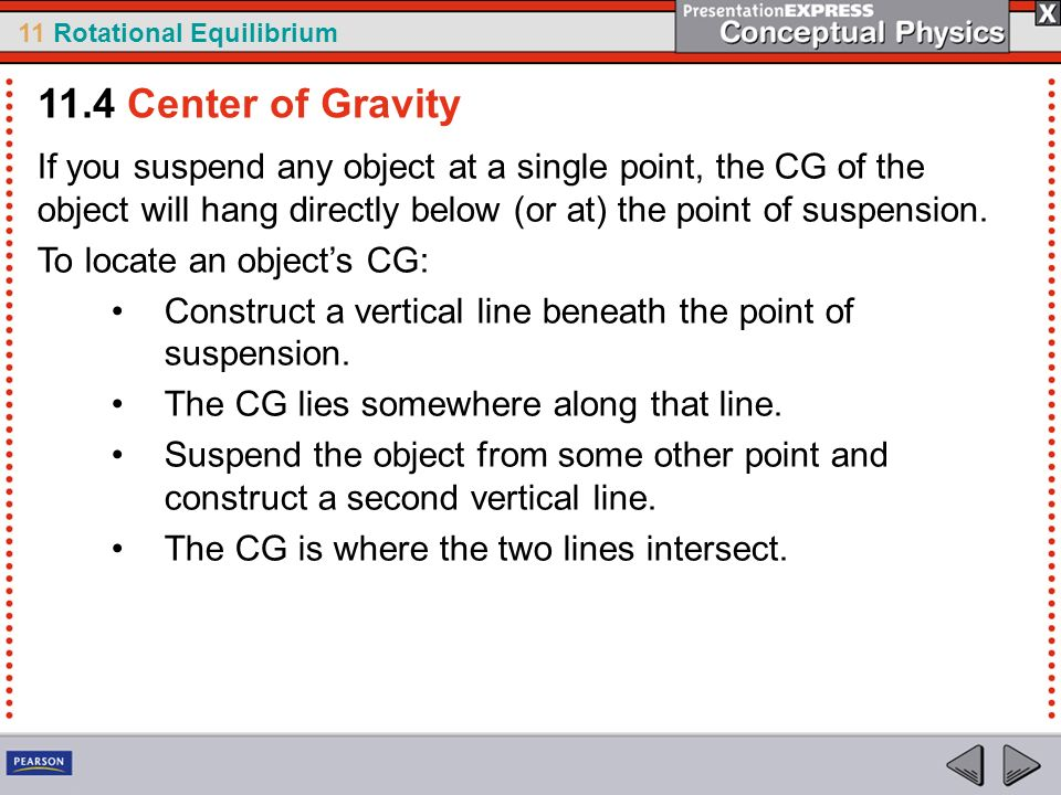 11.4 Center of Gravity If you suspend any object at a single point, the CG of the object will hang directly below (or at) the point of suspension.