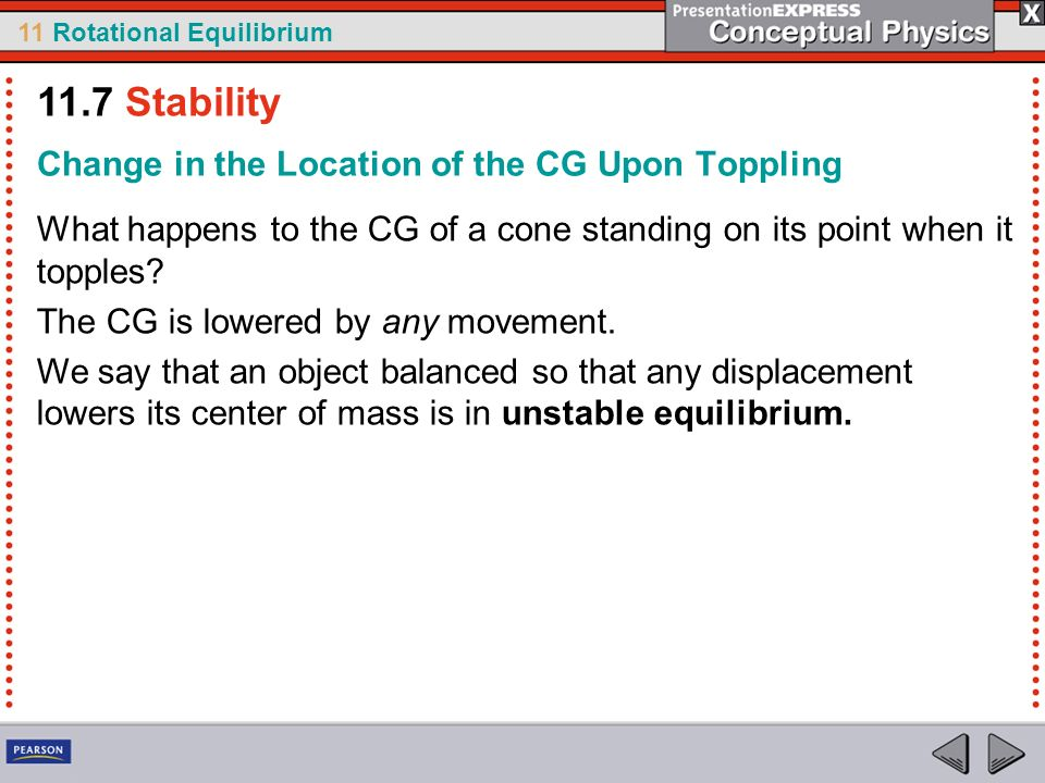 11.7 Stability Change in the Location of the CG Upon Toppling