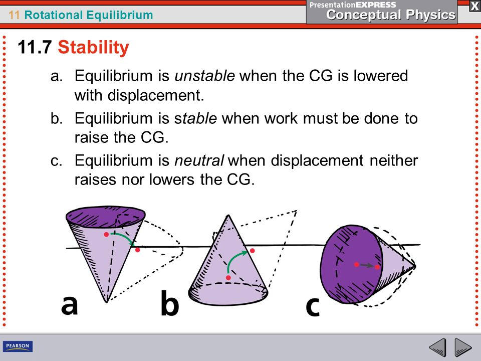 11.7 Stability Equilibrium is unstable when the CG is lowered with displacement. Equilibrium is stable when work must be done to raise the CG.