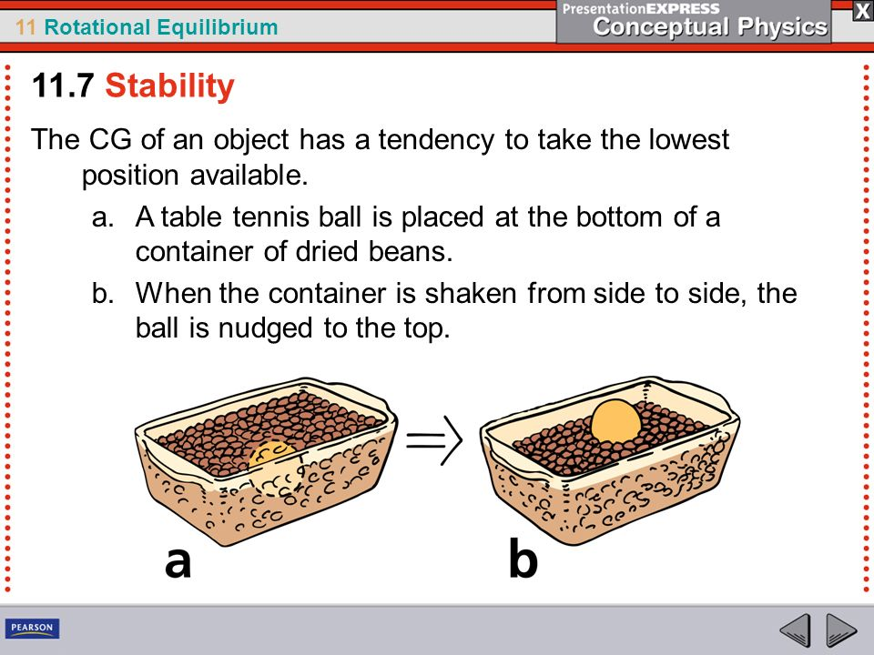 11.7 Stability The CG of an object has a tendency to take the lowest position available.