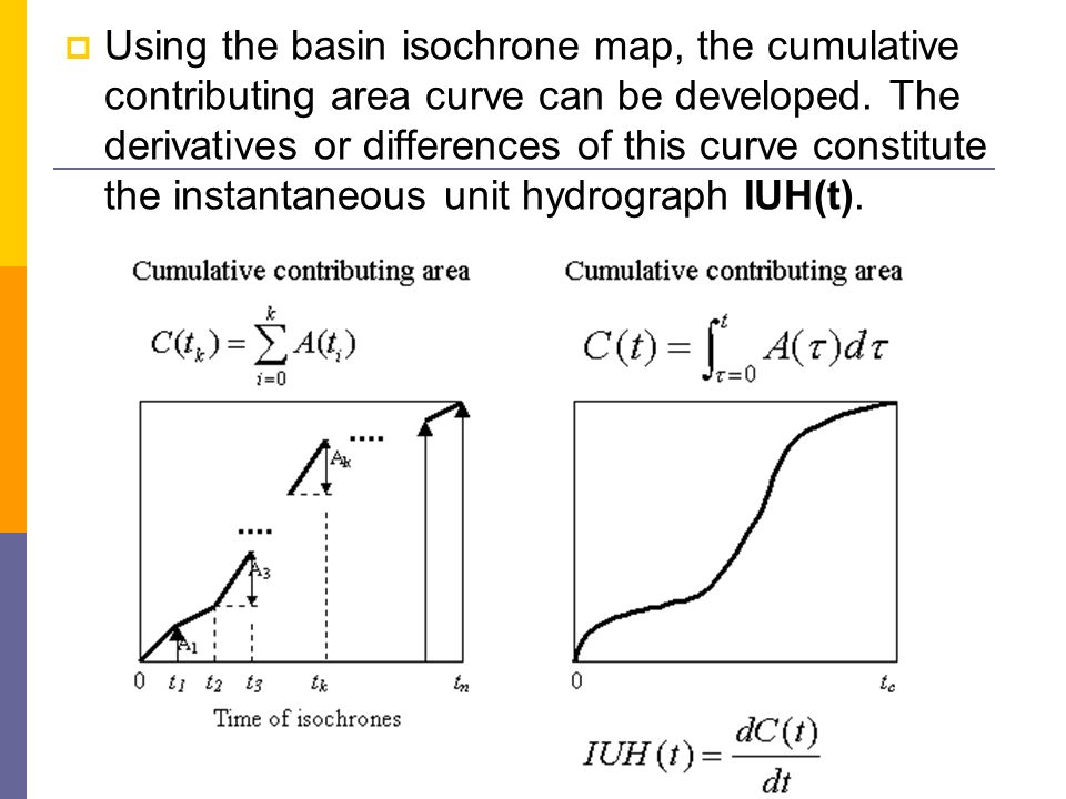 Using the basin isochrone map, the cumulative contributing area curve can be developed.