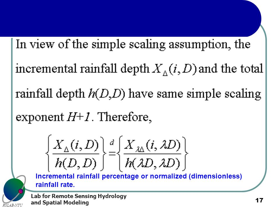 Incremental rainfall percentage or normalized (dimensionless) rainfall rate.