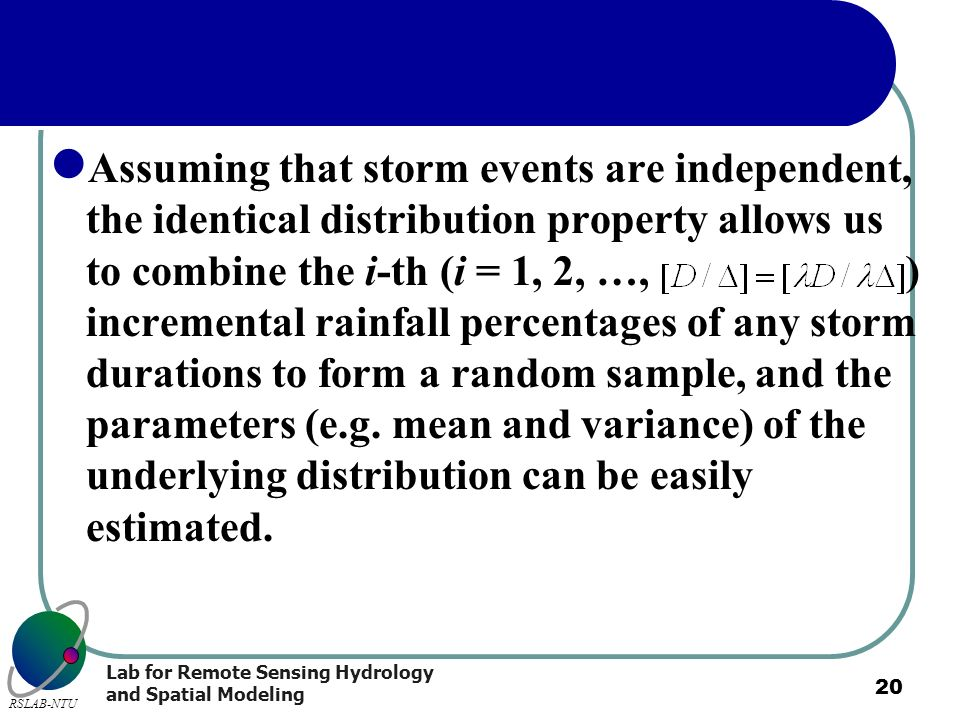 Assuming that storm events are independent, the identical distribution property allows us to combine the i-th (i = 1, 2, …, ) incremental rainfall percentages of any storm durations to form a random sample, and the parameters (e.g.