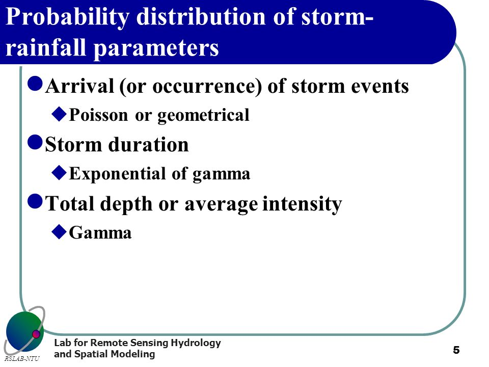Probability distribution of storm-rainfall parameters