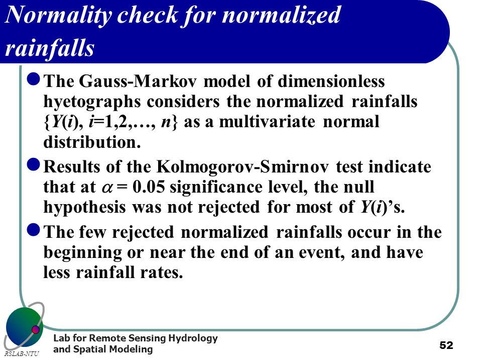 Normality check for normalized rainfalls