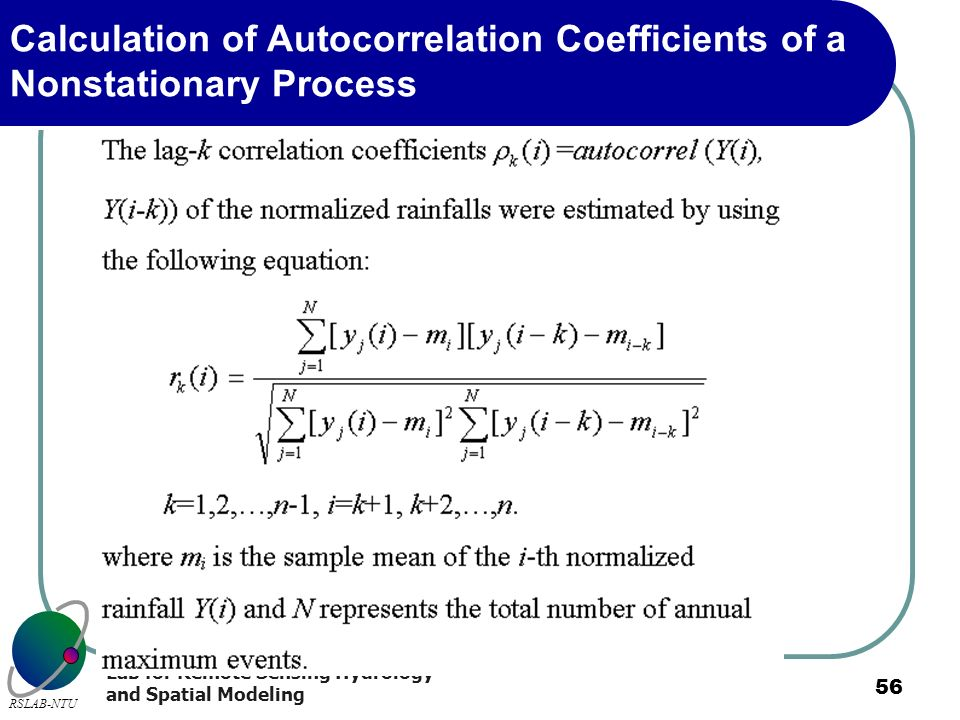 Calculation of Autocorrelation Coefficients of a Nonstationary Process