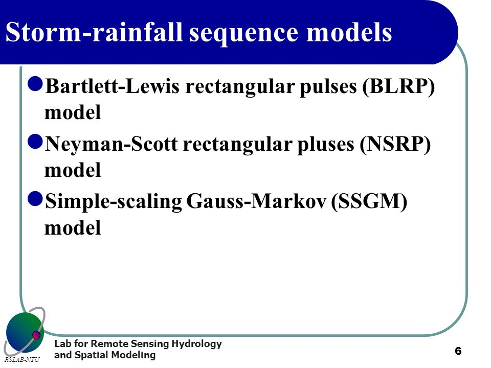 Storm-rainfall sequence models