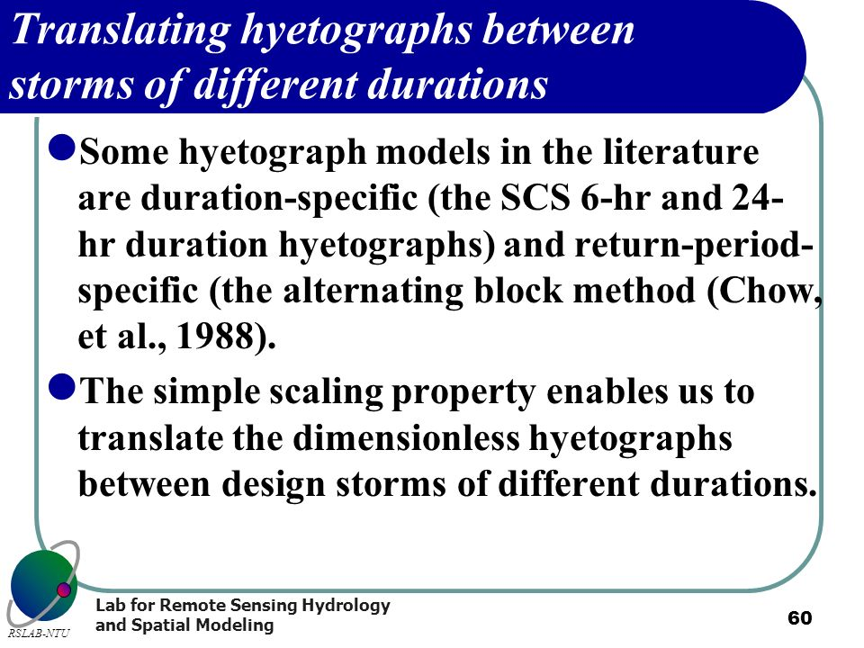 Translating hyetographs between storms of different durations