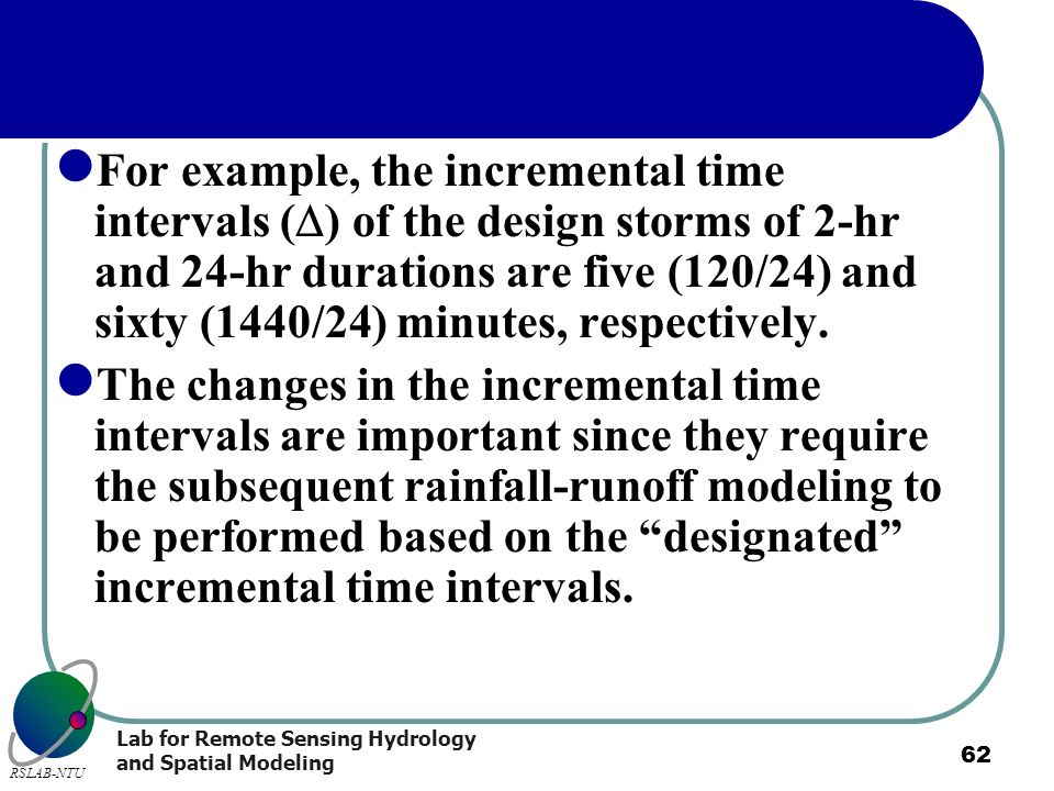 For example, the incremental time intervals () of the design storms of 2-hr and 24-hr durations are five (120/24) and sixty (1440/24) minutes, respectively.
