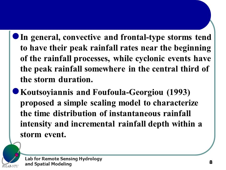 In general, convective and frontal-type storms tend to have their peak rainfall rates near the beginning of the rainfall processes, while cyclonic events have the peak rainfall somewhere in the central third of the storm duration.