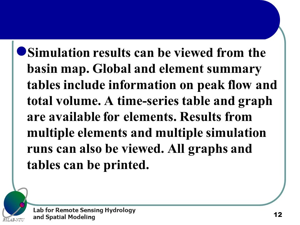 Simulation results can be viewed from the basin map