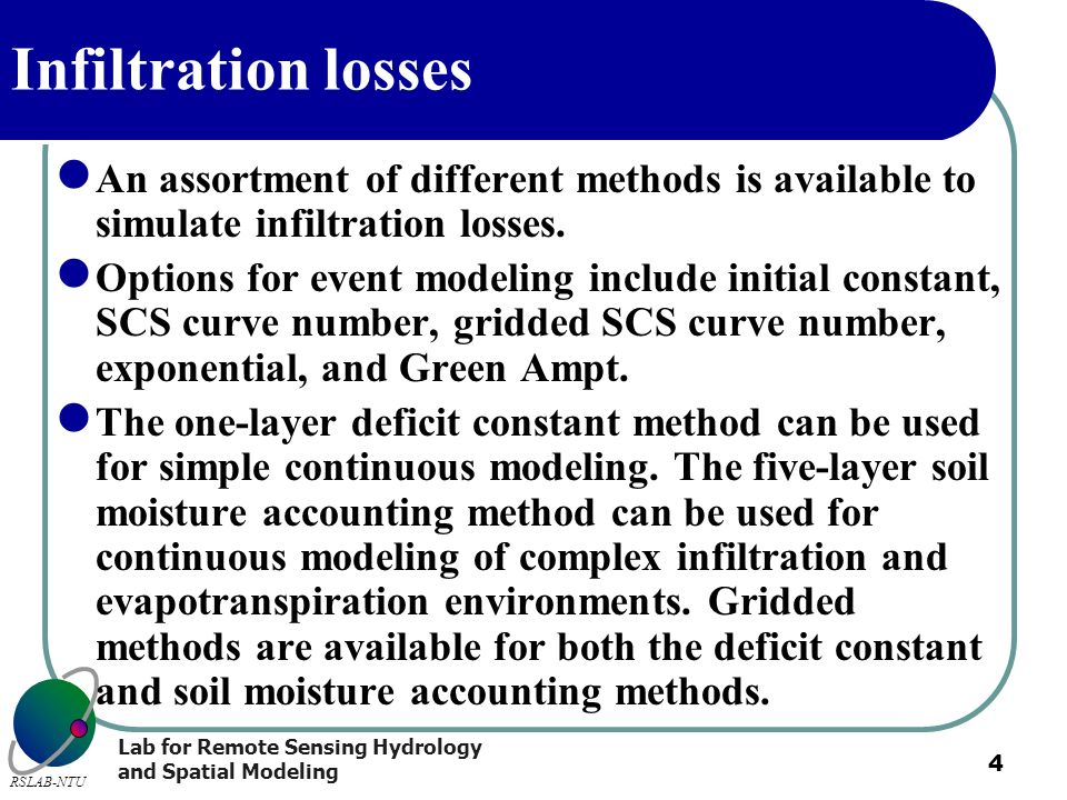 Infiltration losses An assortment of different methods is available to simulate infiltration losses.