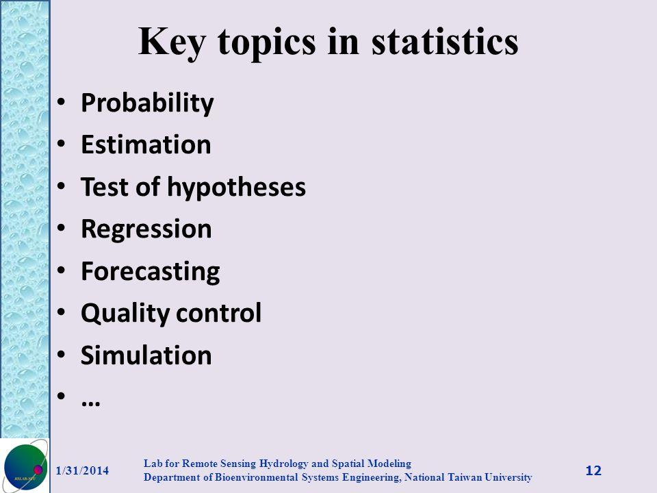 Key topics in statistics