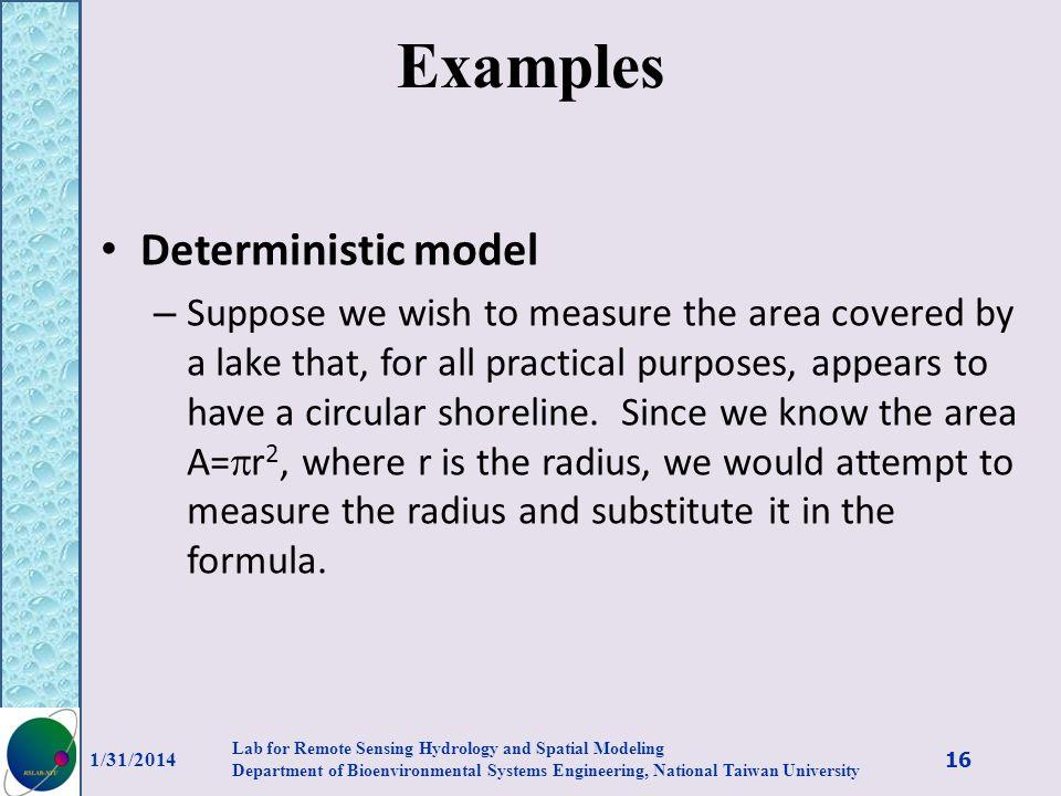 Examples Deterministic model