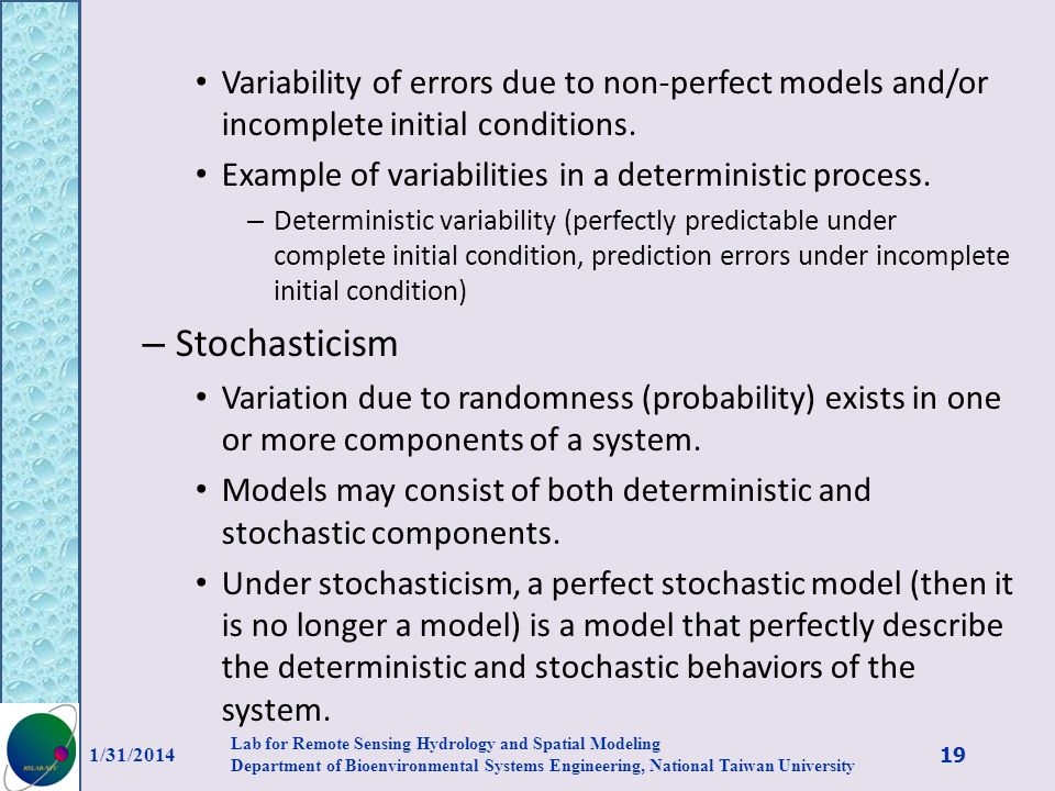 Variability of errors due to non-perfect models and/or incomplete initial conditions.