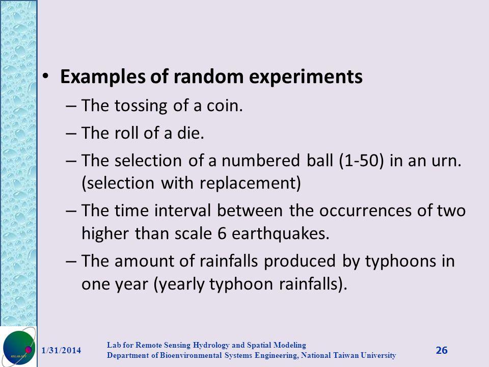 Examples of random experiments