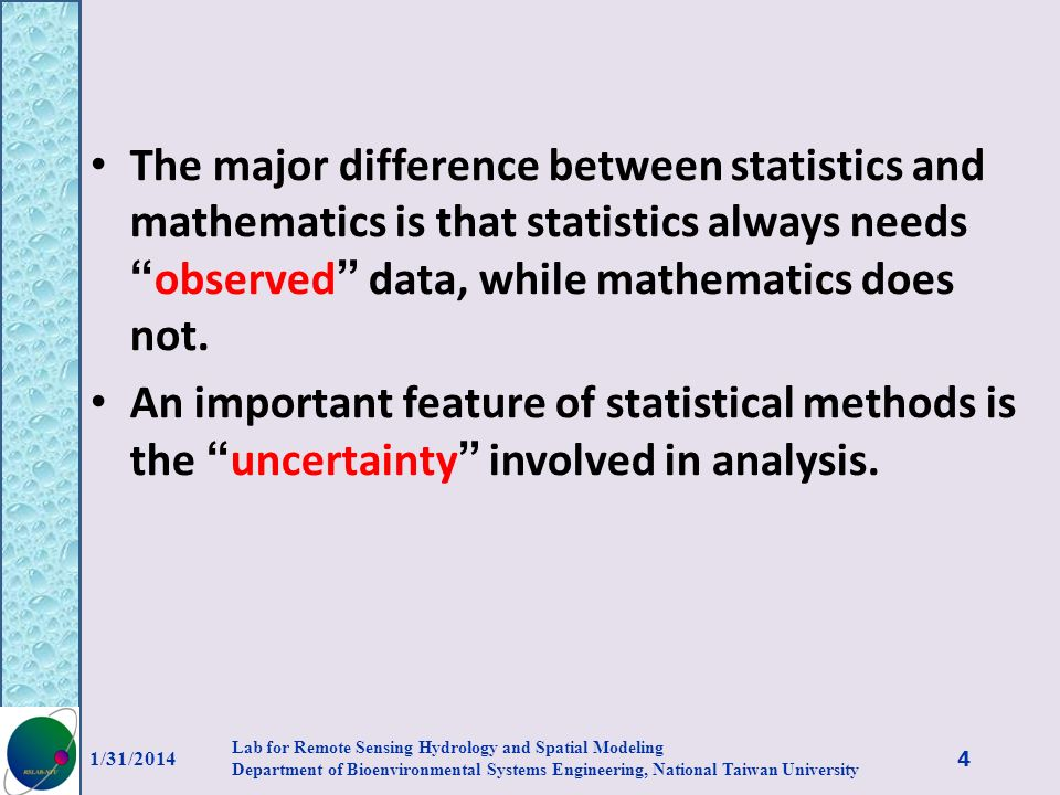 The major difference between statistics and mathematics is that statistics always needs observed data, while mathematics does not.