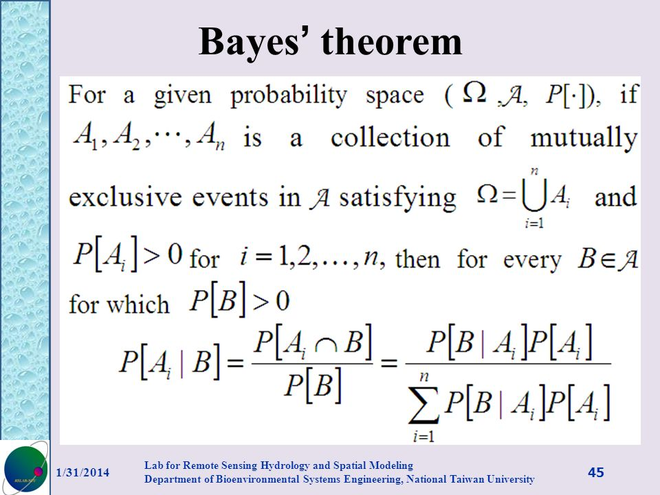 Bayes' theorem 3/27/2017.