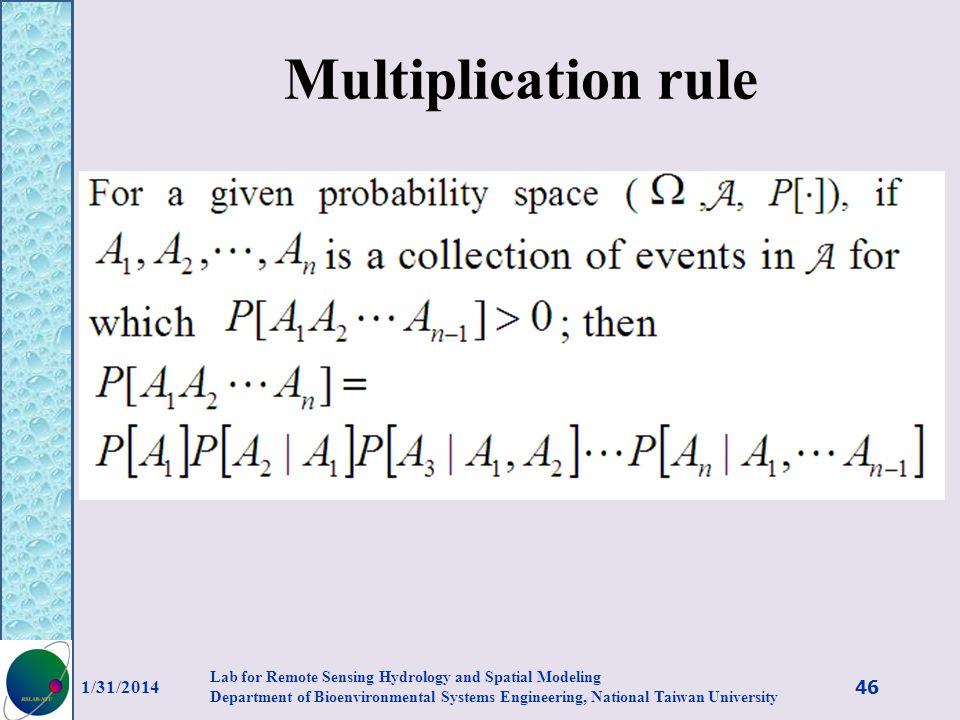 Multiplication rule 3/27/2017