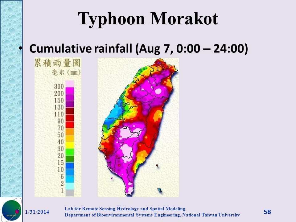 Typhoon Morakot Cumulative rainfall (Aug 7, 0:00 – 24:00) 3/27/2017