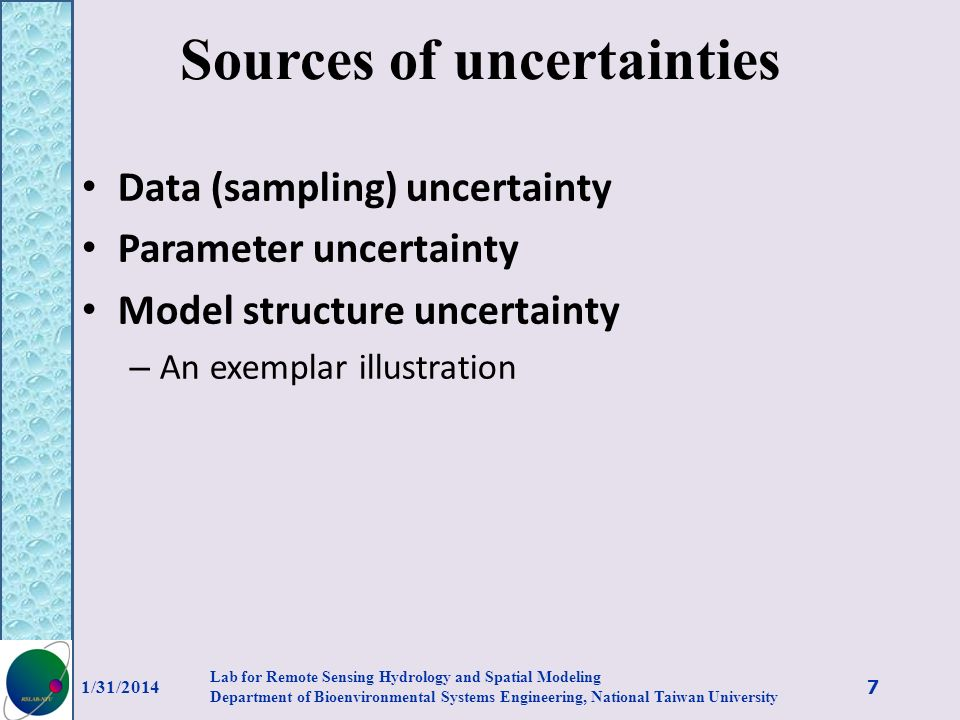 Sources of uncertainties