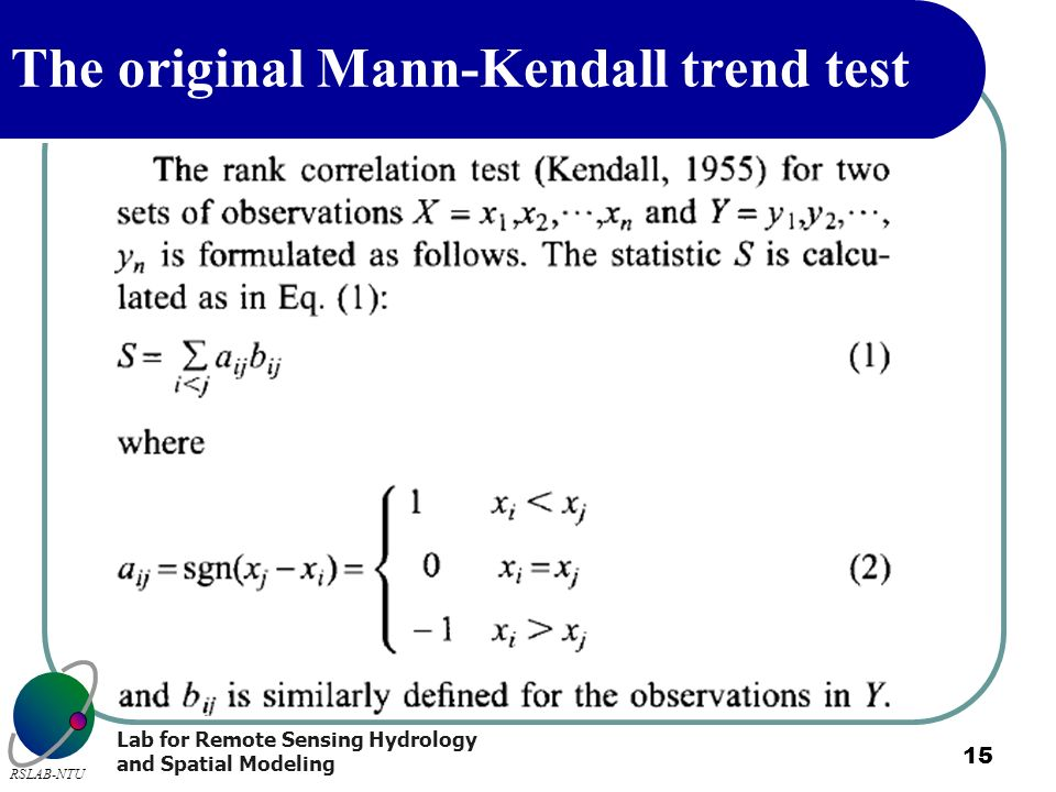 The original Mann-Kendall trend test