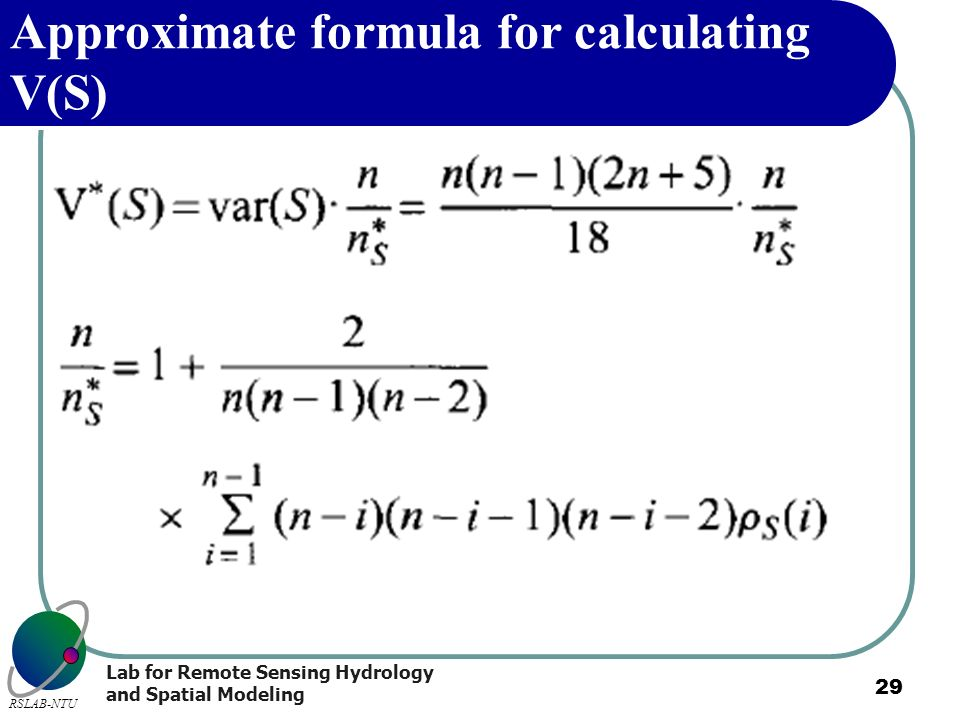 Approximate formula for calculating V(S)