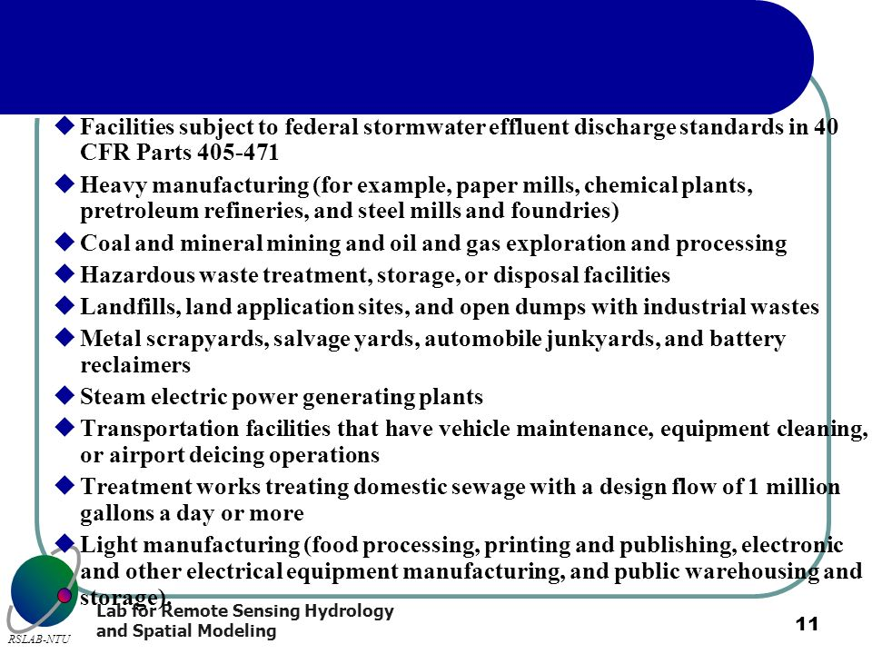Facilities subject to federal stormwater effluent discharge standards in 40 CFR Parts 405-471