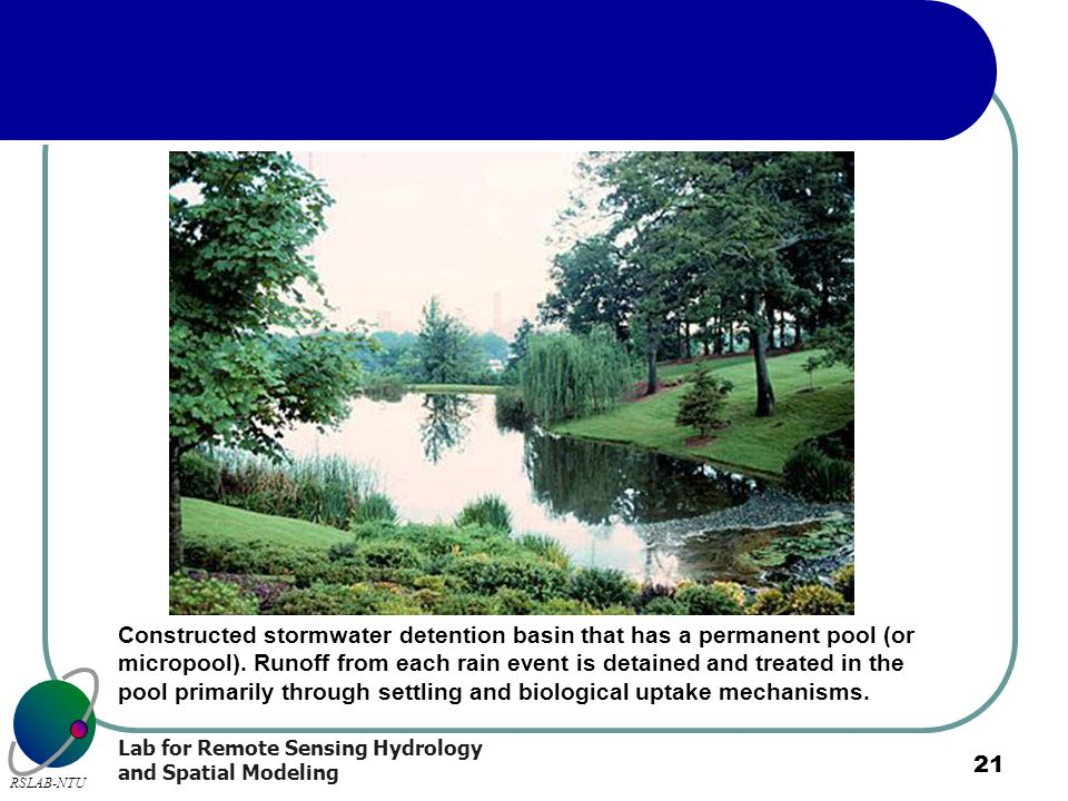 Constructed stormwater detention basin that has a permanent pool (or micropool). Runoff from each rain event is detained and treated in the