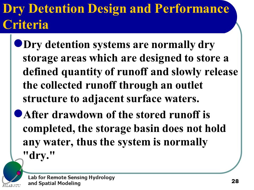 Dry Detention Design and Performance Criteria